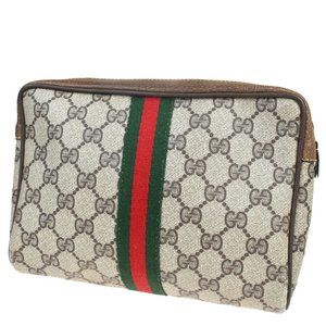 GUCCI GG Pattern Sherry Clutch Hand Bag Pouch PVC